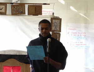 Lamontay reading his splash poem...
