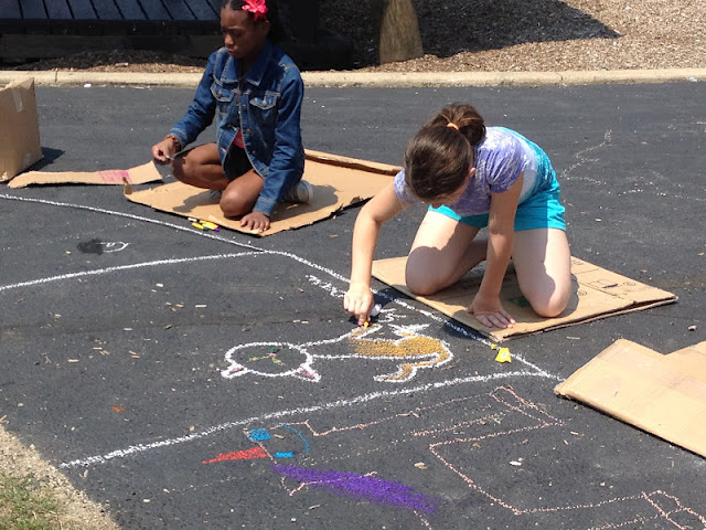 Students Drawing with Chalk
