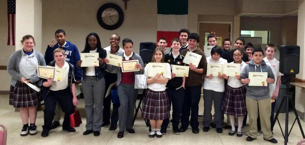Students at St. Rocco School in Cleveland who participated in a Lake Erie Ink Residency culminating in a Poetry Slam