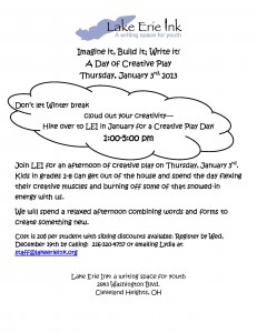 Imagine It, Build It, Write It!  A Day of Creative Play on Jan 3rd