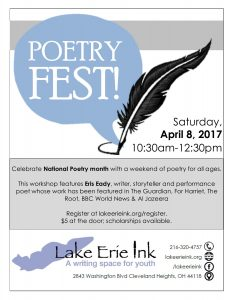Poetry FEST! - A Weekend Ink workshop featuring poet Eris Eady @ Lake Erie Ink | Cleveland Heights | Ohio | United States
