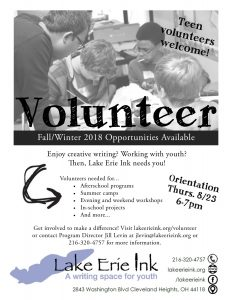 Volunteer Info + Orientation Session @ Lake Erie Ink: a writing space for youth | Cleveland Heights | Ohio | United States
