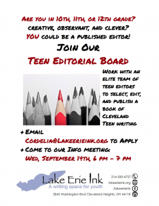 Teen Editorial Board Info Session @ Lake Erie Ink: a writing space for youth | Cleveland Heights | Ohio | United States