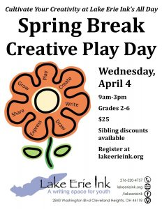 Spring Break Creative Play Day @ Lake Erie Ink: a writing space for youth | Cleveland Heights | Ohio | United States