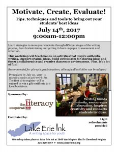 Motivate, Create, Evaluate: Tips Techniques and Tools to Bring out your Students' Best Ideas @ Lake Erie Ink: a writing space for youth | Cleveland Heights | Ohio | United States