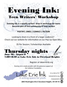 Evening Ink: Teen Writers' Workshop Summer @ Lake Erie Ink: a writing space for youth