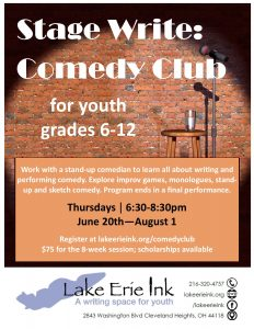 Stage Write: Comedy Club Summer @ Lake Erie Ink: a writing space for youth